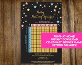 INSTANT DOWNLOAD Twinkle Twinkle Little Star Baby Betting Squares: Co-Ed Baby Shower Game Printable - Print-at-Home PDF Printable