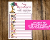 INSTANT DOWNLOAD Giraffe Baby Sprinkle Emoji Nursery Rhymes Baby Shower Game: Co-Ed Baby Shower Game - Print-at-Home PDF Printable