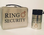 Silver Ring Security Box - Complete with Personalized Thermos and Coloring Book with Crayons - Ring Bearer Alternative
