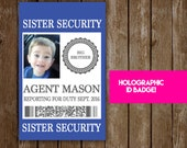 New Baby Sibling Security Badge - Pregnancy Announcement & Baby Shower Fun for Big Brother or Big Sister - Sister Security Brother Security