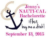 Nautical - Bachelorette Party Temporary Tattoo - Nauti/Naughty Nautical Themed Bachelorette