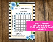 INSTANT DOWNLOAD Floral Stripes Baby Betting Squares: Co-Ed Baby Shower Game Printable - Print-at-Home PDF Printable