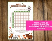 INSTANT DOWNLOAD Woodland Creatures Baby Betting Squares: Forest Animals Co-Ed Baby Shower Game Printable - Print-at-Home PDF Printable