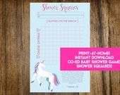 INSTANT DOWNLOAD Unicorn Shower Squares: Co-Ed Baby Shower Game Printable - It's A Girl Unicorn Shower Theme - Print-at-Home PDF Printable