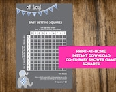 INSTANT DOWNLOAD It's A Boy Baby Betting Squares: Elephant Co-Ed Baby Shower Game Printable - Print-at-Home PDF Printable