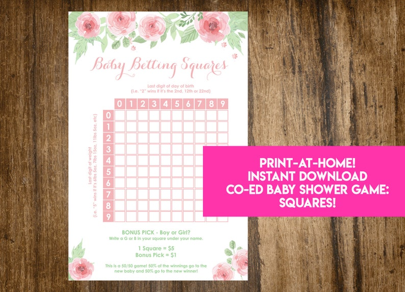 INSTANT DOWNLOAD Floral Baby Betting Squares: Co-Ed Baby image 0