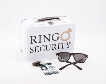 Ring Security Set - ID Badge, Box with Ring Pillow, Sunglasses & Coloring Book with Crayons - Wedding Ring Bearer Alternative / Gift
