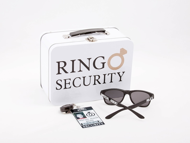 Ring Security Set  ID Badge Box with Ring Pillow Sunglasses image 0
