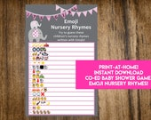 INSTANT DOWNLOAD It's A Girl Elephant Emoji Nursery Rhymes Baby Shower Game: Co-Ed Baby Shower Game - Print-at-Home PDF Printable