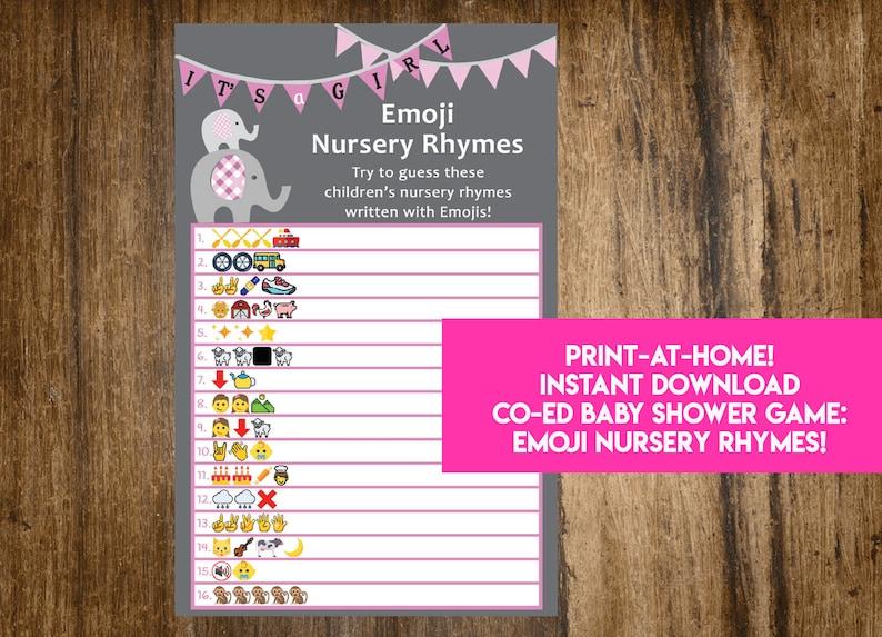 INSTANT DOWNLOAD It's A Girl Elephant Emoji Nursery Rhymes image 0