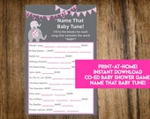 INSTANT DOWNLOAD It's A Girl Elephant Name That Baby Tune Baby Shower Game: Co-Ed Baby Shower Game - Print-at-Home PDF Printable