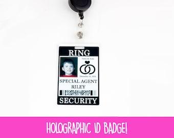 Ring Security ID Badge with Badge Reel - Wedding Ring Bearer Alternative