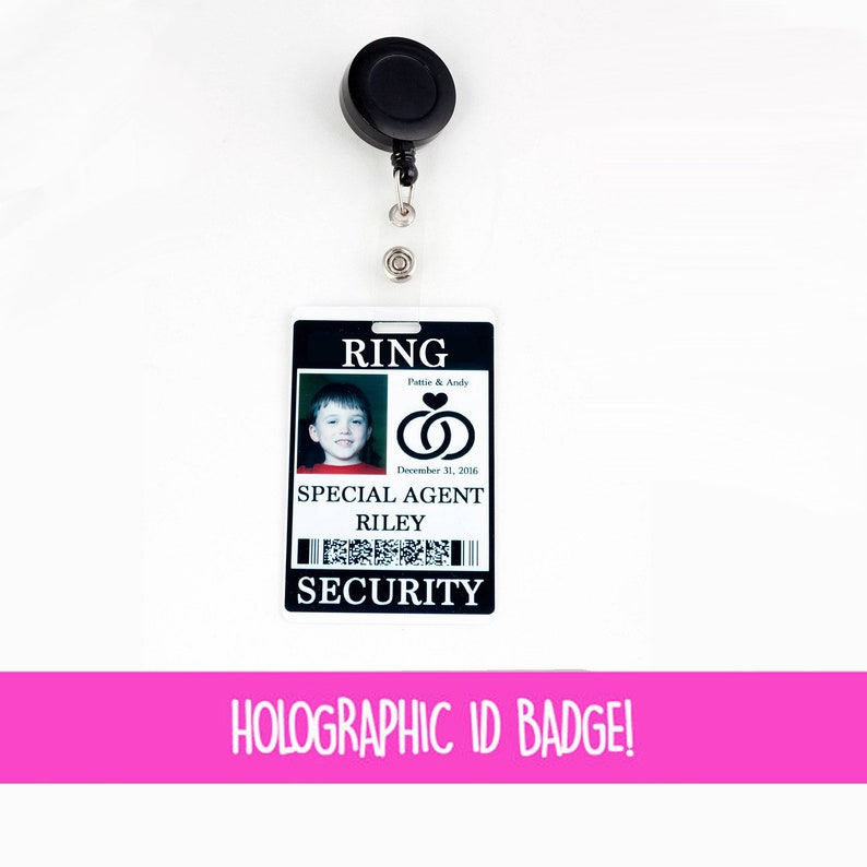 Ring Security ID Badge with Badge Reel  Wedding Ring Bearer image 1