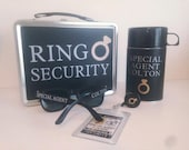 Ring Security Set, Silver w/ Black Wrap - Box, ID Badge, Thermos, Sunglasses & Coloring Book w/Crayons - Ring Bearer Alternative