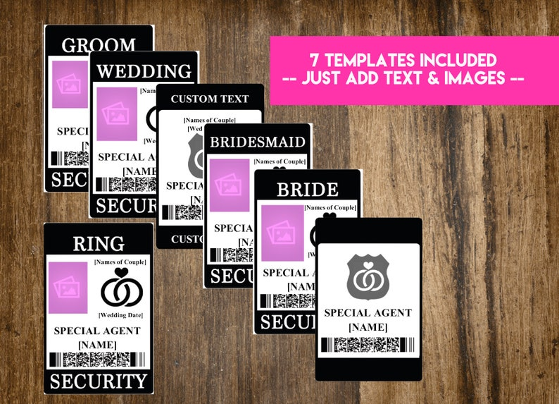 INSTANT DOWNLOAD Ring Security Badge / Wedding Security Suite image 0
