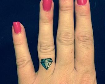 SET OF 4 Diamond Ring Finger Tattoo - Bachelorette Party Temporary Tattoo