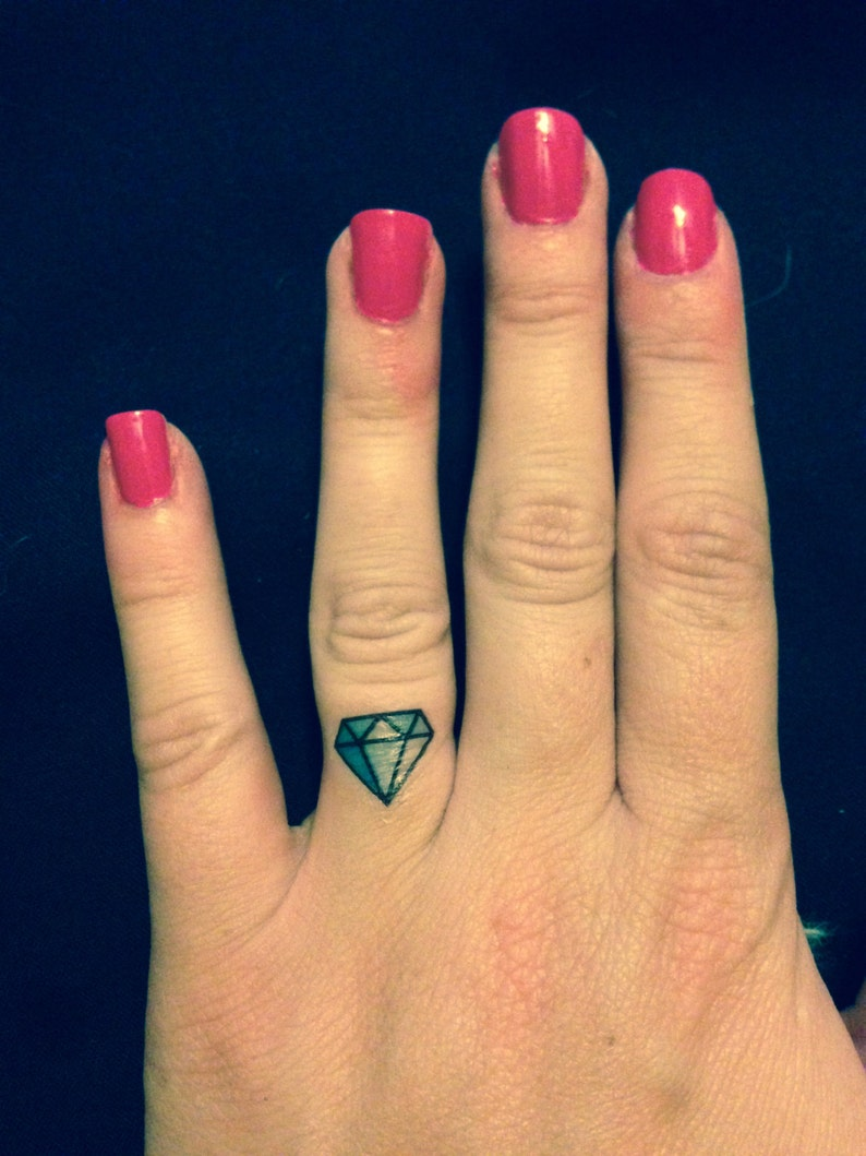 SET OF 4 Diamond Ring Finger Tattoo  Bachelorette Party image 1
