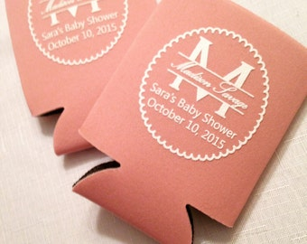 SET OF 25 Personalized Monogram Can Coolies - Baby Shower Can Cooler Sleeve - Baby Shower Favor