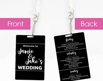 Set of 10+ Wedding Welcome Tags - Wedding Itinerary - Lanyard Necklace Luggage Tag