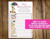 INSTANT DOWNLOAD Giraffe Baby Sprinkle Emoji Nursery Rhymes Baby Shower Game: Co-Ed Baby Shower Game - Print-at-Home PDF Printable