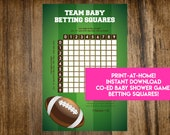 INSTANT DOWNLOAD Football Team Baby Betting Squares: Co-Ed Baby Shower Baby Betting Game Printable - Print-at-Home PDF Printable