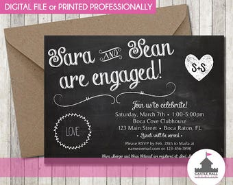 Chalkboard Engagement Party Invitation - Personalized Printable / Digital Download or Professionally Printed - Engaged - Wedding Stationary