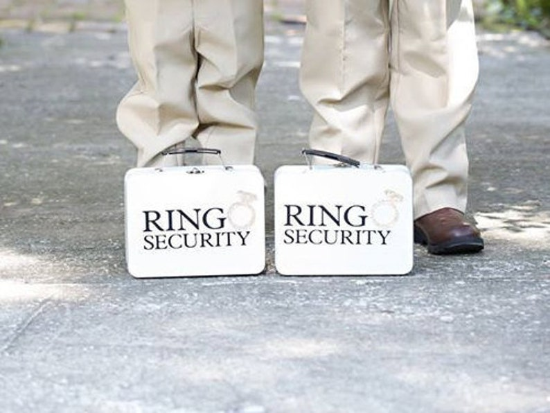 SET OF 2 Chalkboard Ring Security Boxes White or Black With image 0