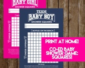 INSTANT DOWNLOAD Shower Squares: Co-Ed Baby Shower Game Printable - Print-at-Home PDF Printable