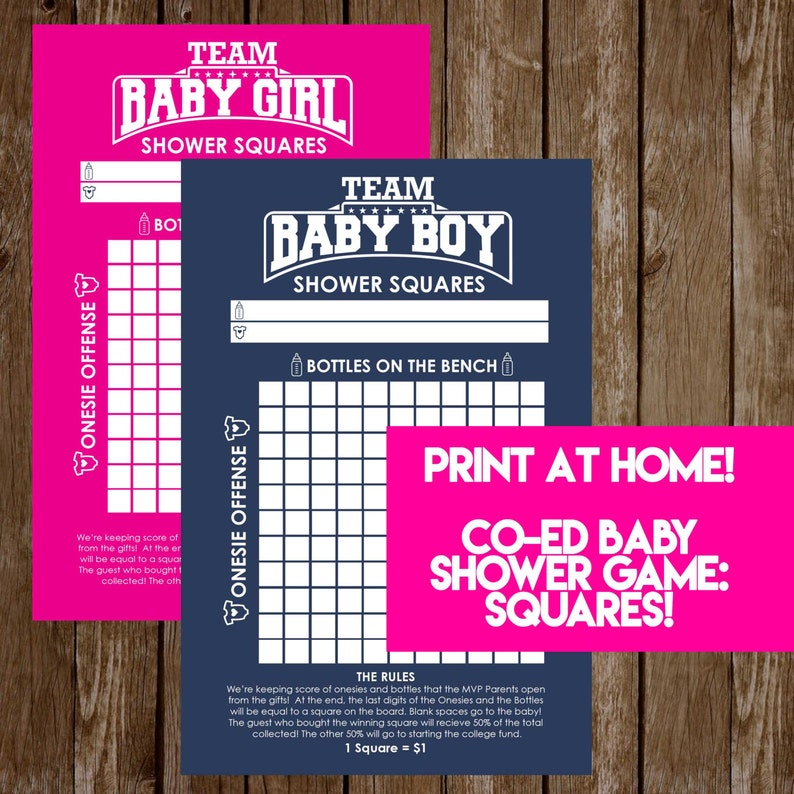 INSTANT DOWNLOAD Shower Squares: Co-Ed Baby Shower Game image 1