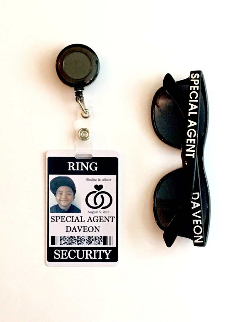 Ring Security ID Badge Set with Sunglasses  Wedding Ring image 0