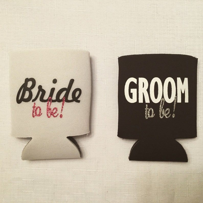 Bride-to-be & Groom-to-be Can Coolies  Can Cooler Sleeve for image 1