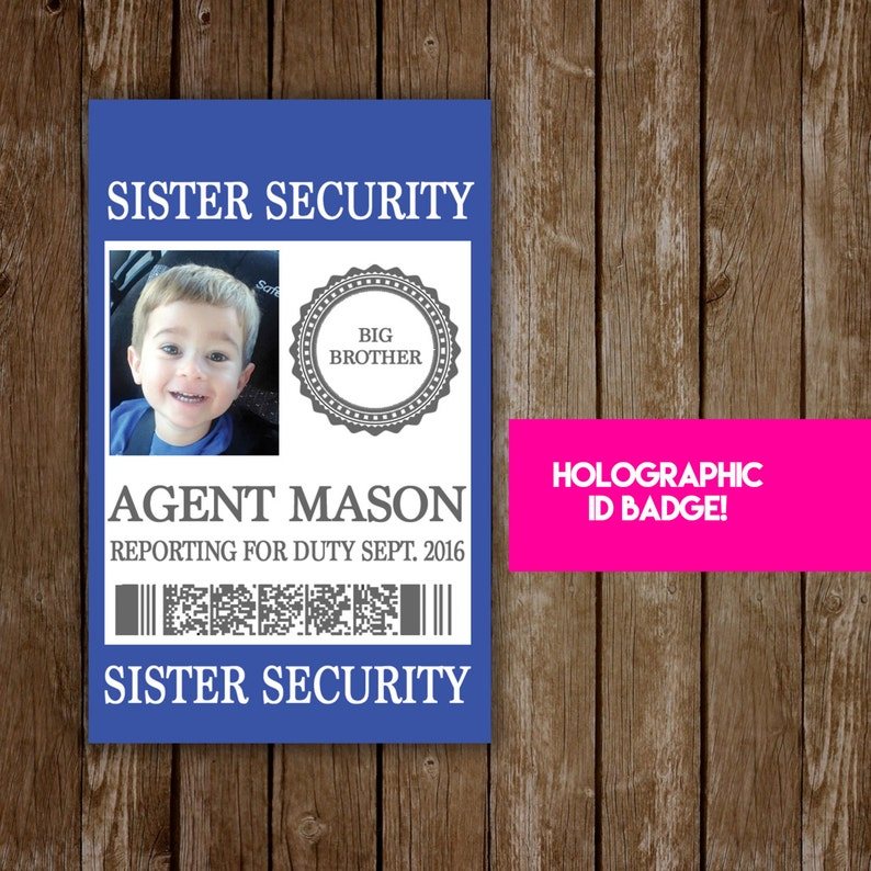 New Baby Sibling Security Badge  Pregnancy Announcement & image 0