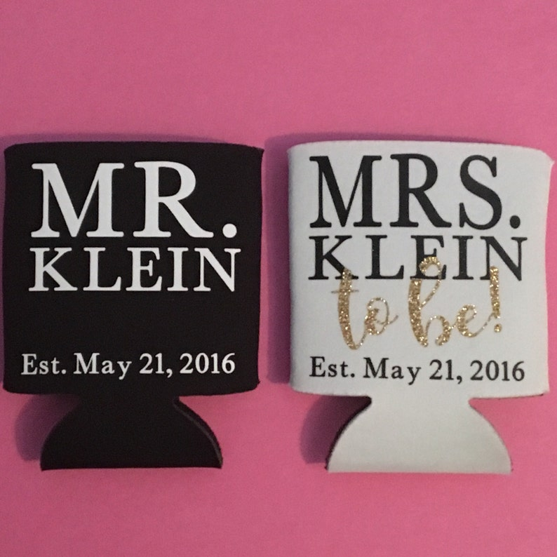 Mr. & Mrs.to-be Can Coolies  Can Cooler Sleeve for Newly image 1