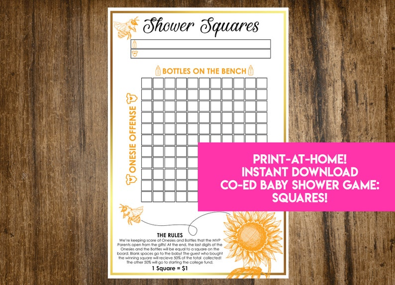 INSTANT DOWNLOAD Bumblebee Shower Squares: Sunflower Bee Co-Ed image 0