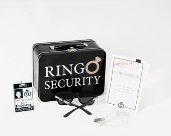 Complete Ring Security Set - Box with Ring Pillow, Proposal Card, ID Badge, Ear Piece, Sunglasses & Coloring Book with Crayons
