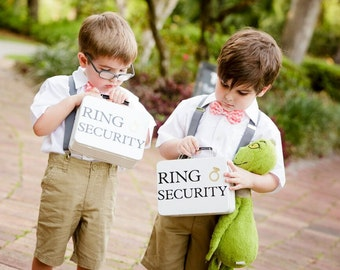 SET OF 2 Ring Security Boxes (white or black) - Complete with Coloring Books with Crayons - Ring Bearer Alternative