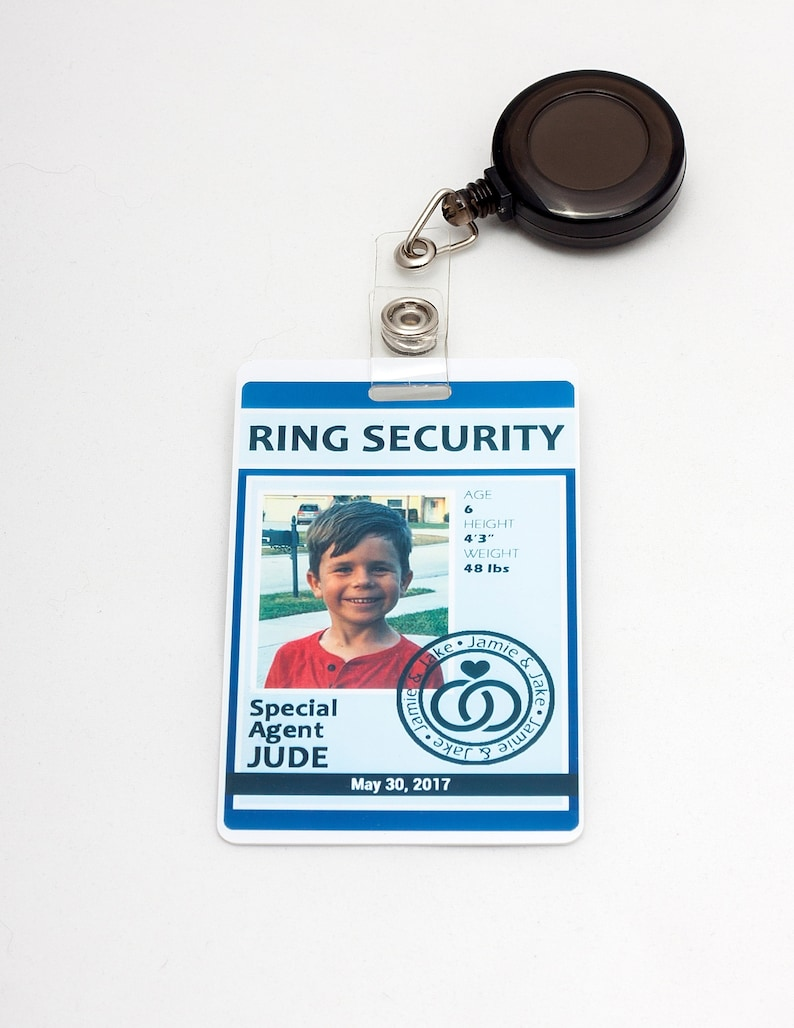 Ring Security ID Badge in BLUE  Wedding Ring Bearer image 0