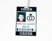 Usher Gift Security ID Badge with Badge Reel - Wedding Party Alternative