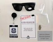 Ring Security ID Badge Set with Sunglasses - Wedding Ring Bearer Alternative / Ring Bearer Gift