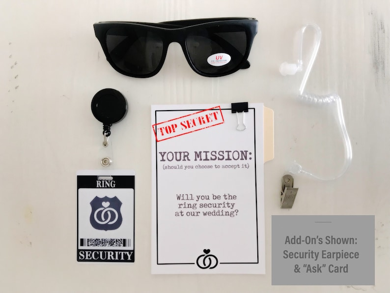Ring Security ID Badge Set with Sunglasses  Wedding Ring image 1