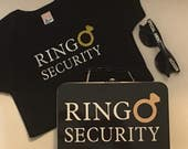 Ring Security Set - T-Shirt, Box with Ring Pillow, Sunglasses & Coloring Book with Crayons - Wedding Ring Bearer Alternative / Gift