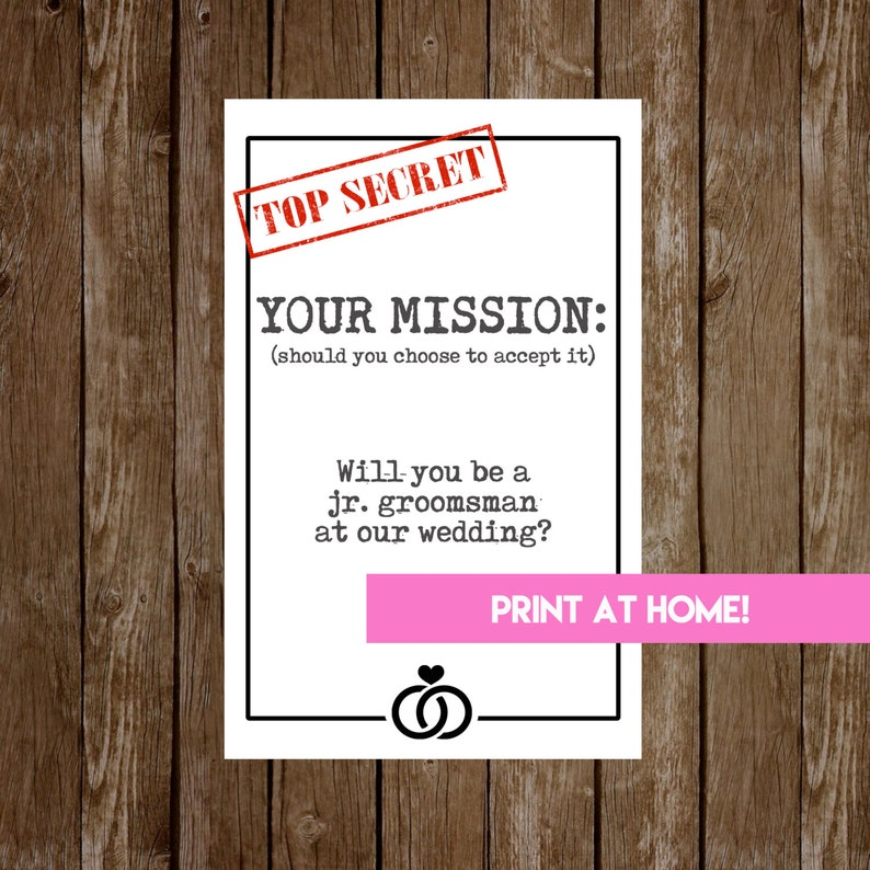 INSTANT DOWNLOAD Wedding Party Proposal Card-ASK Card for Ring image 0