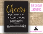 Cheers Pregnancy Announcement - Personalized Printable / Digital Download - Cheers to New Baby - Creative Baby Announcement