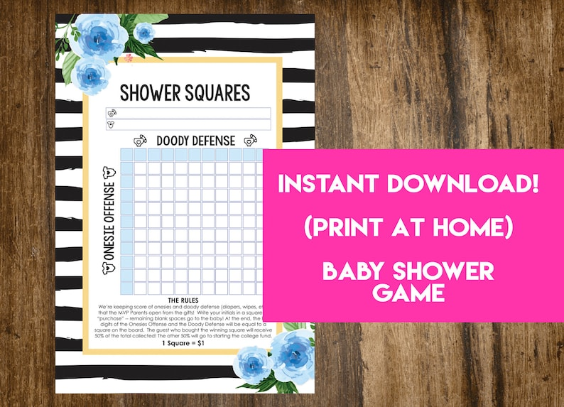 INSTANT DOWNLOAD Floral Shower Squares: Co-Ed Baby Shower Game image 0