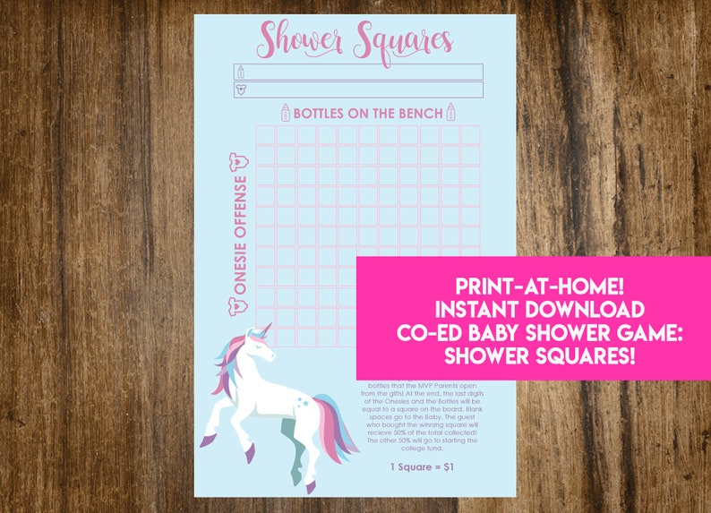 INSTANT DOWNLOAD Unicorn Shower Squares: Co-Ed Baby Shower image 1