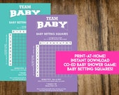 INSTANT DOWNLOAD Baby Betting Squares: Co-Ed Baby Shower Game Printable - Print-at-Home PDF Printable