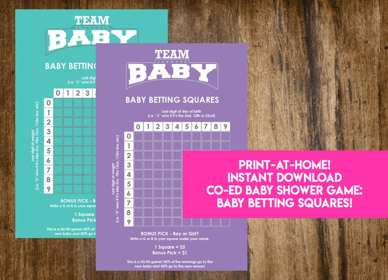 INSTANT DOWNLOAD Baby Betting Squares: Co-Ed Baby Shower Game image 0