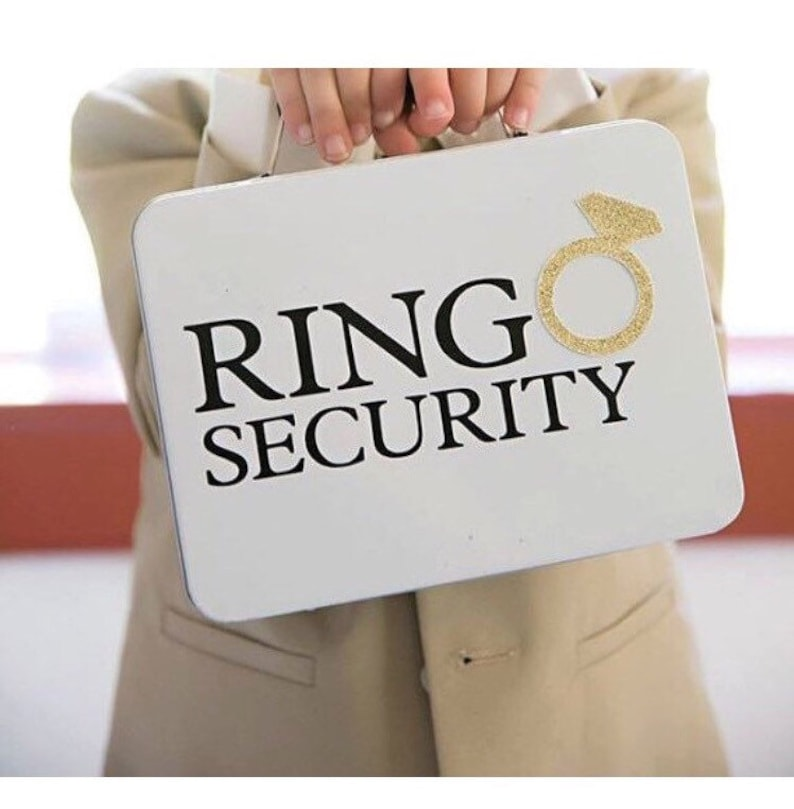 White Ring Security Box with Ring Pillow  Complete with image 0