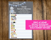 INSTANT DOWNLOAD Oh Boy! It's A Boy Elephant Emoji Nursery Rhymes Baby Shower Game: Co-Ed Baby Shower Game - Print-at-Home PDF Printable