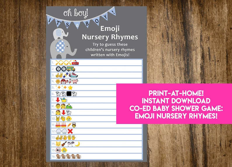 INSTANT DOWNLOAD Oh Boy It's A Boy Elephant Emoji Nursery image 0